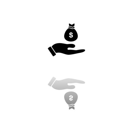 Open Palm Hold Money Bag. Black symbol on white background. Simple illustration. Flat Vector Icon. Mirror Reflection Shadow.
