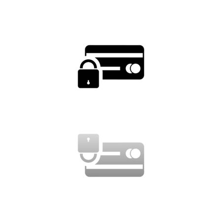 Credit Card Security. Black symbol on white background. Simple illustration. Flat Vector Icon. Mirror Reflection Shadow.