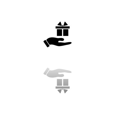 Gift present. Black symbol on white background. Simple illustration. Flat Vector Icon. Mirror Reflection Shadow Ilustracja