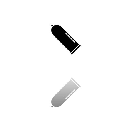 Condom. Black symbol on white background. Simple illustration. Flat Vector Icon. Mirror Reflection Shadow.