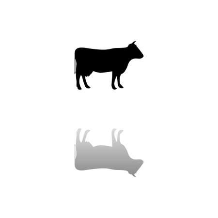 Cow. Black symbol on white background. Simple illustration. Flat Vector Icon. Mirror Reflection Shadow. Can be used in logo, web, mobile and UI UX project