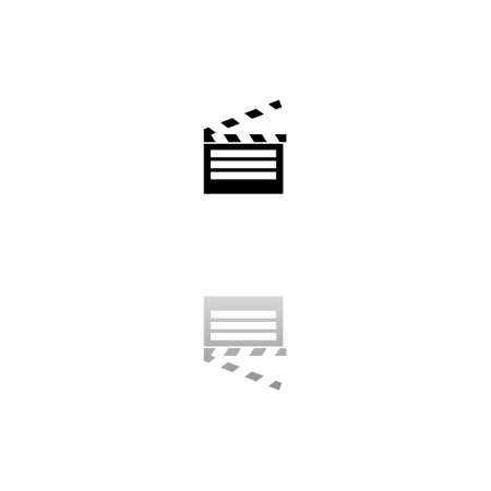 Film flap. Black symbol on white background. Simple illustration. Flat Vector Icon. Mirror Reflection Shadow. Can be used in logo, web, mobile and UI UX project