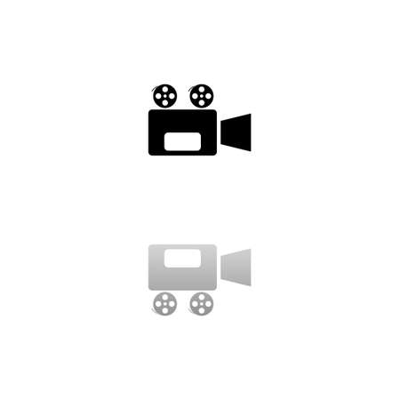 Cinema camera. Black symbol on white background. Simple illustration. Flat Vector Icon. Mirror Reflection Shadow. Can be used in logo, web, mobile and UI UX project Çizim