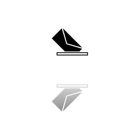 Mail box. Black symbol on white background. Simple illustration. Flat Vector Icon. Mirror Reflection Shadow.
