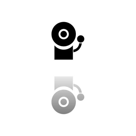 Fire alarm. Black symbol on white background. Simple illustration. Flat Vector Icon. Mirror Reflection Shadow. Stock Illustratie