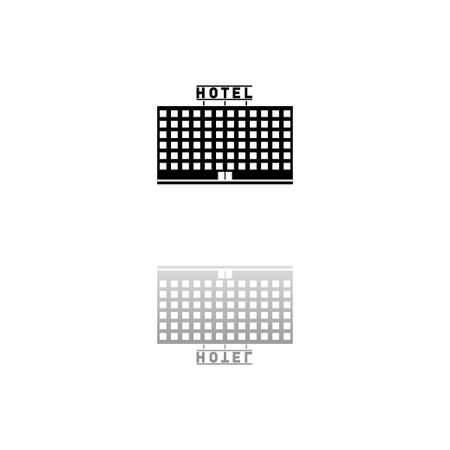Hotel. Black symbol on white background. Simple illustration. Flat Vector Icon. Mirror Reflection Shadow.