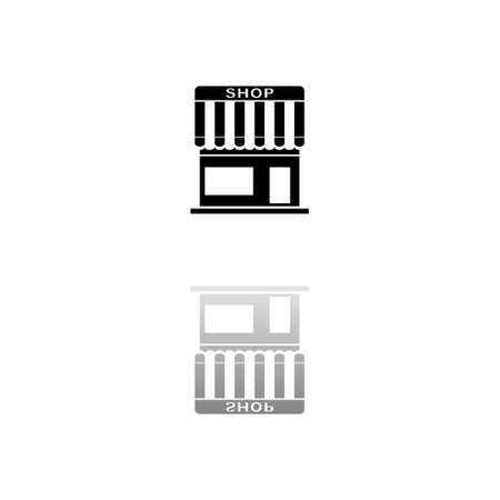 Shop. Black symbol on white background. Simple illustration. Flat Vector Icon. Mirror Reflection Shadow.