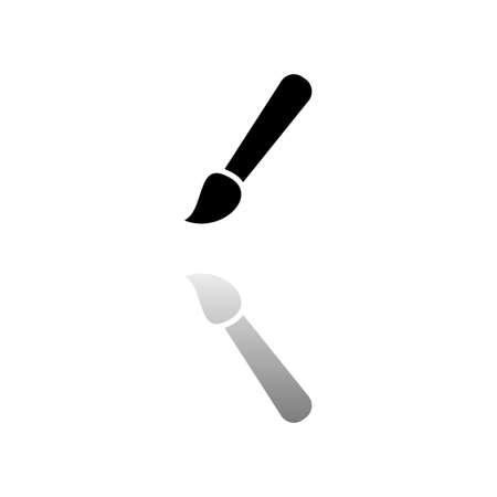 Paint brush. Black symbol on white background. Simple illustration. Flat Vector Icon. Mirror Reflection Shadow. Ilustracja