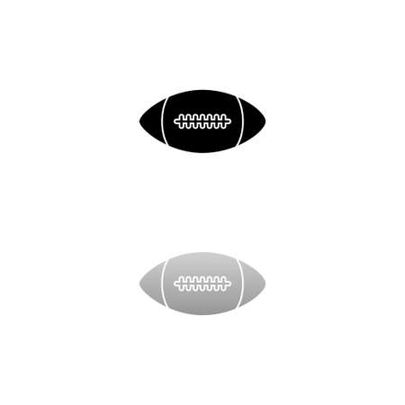 Rugby ball. Black symbol on white background. Simple illustration. Flat Vector Icon. Mirror Reflection Shadow.