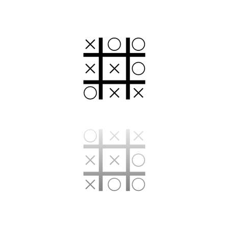 Tic tac toe game. Black symbol on white background. Simple illustration. Flat Vector Icon. Mirror Reflection Shadow.