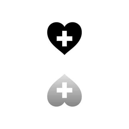 Health hearth cross. Black symbol on white background. Simple illustration. Flat Vector Icon. Mirror Reflection Shadow. Ilustracja