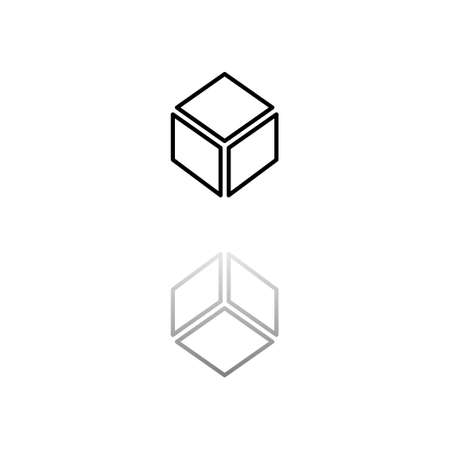 Cube. Black symbol on white background. Simple illustration. Flat Vector Icon. Mirror Reflection Shadow.