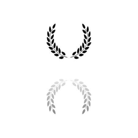 Laurel wreath. Black symbol on white background. Simple illustration. Flat Vector Icon. Mirror Reflection Shadow.