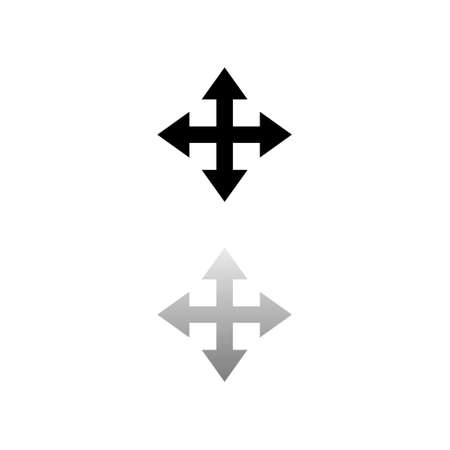 Four arrows. Black symbol on white background. Simple illustration. Flat Vector Icon. Mirror Reflection Shadow.