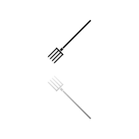 Pitchfork. Black symbol on white background. Simple illustration. Flat Vector Icon. Mirror Reflection Shadow.