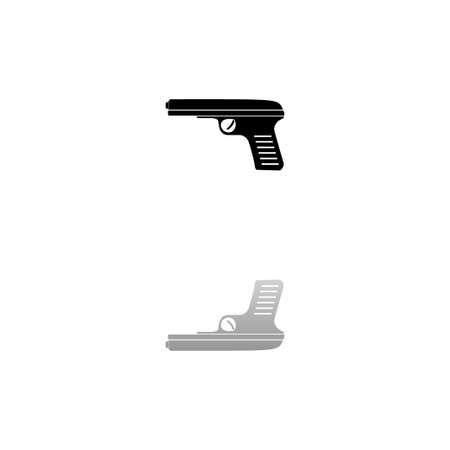 Gun. Black symbol on white background. Simple illustration. Flat Vector Icon. Mirror Reflection Shadow.