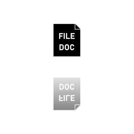 DOC file. Black symbol on white background. Simple illustration. Flat Vector Icon. Mirror Reflection Shadow.