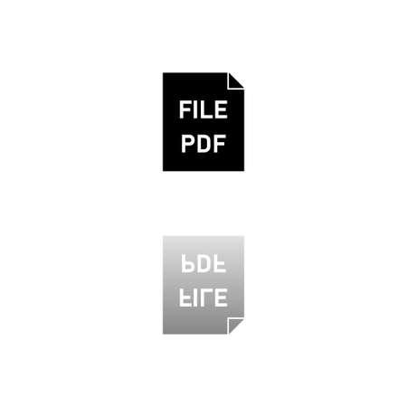 PDF. Black symbol on white background. Simple illustration. Flat Vector Icon. Mirror Reflection Shadow.