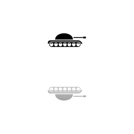Tank army. Black symbol on white background. Simple illustration. Flat Vector Icon. Mirror Reflection Shadow. Can be used in logo, web, mobile and UI UX project