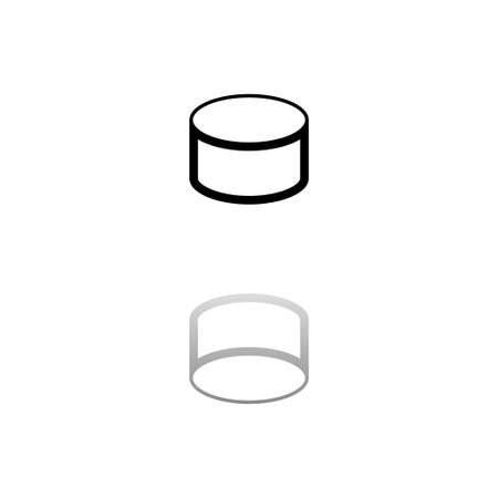 Tin can. Black symbol on white background. Simple illustration. Flat Vector Icon. Mirror Reflection Shadow. Can be used in logo, web, mobile and UI UX project