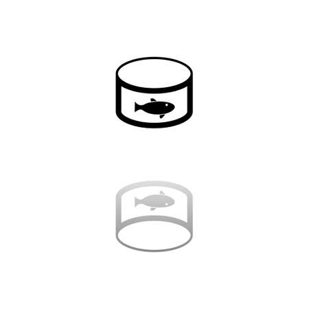 Can with label tuna fish. Black symbol on white background. Simple illustration. Flat Vector Icon. Mirror Reflection Shadow. Can be used in logo, web, mobile and UI UX project