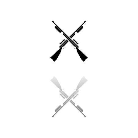 Crossed shotguns, hunting rifles. Black symbol on white background. Simple illustration. Flat Vector Icon. Mirror Reflection Shadow. Can be used in logo, web, mobile and UI UX project