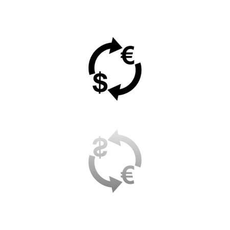 Exchange. Black symbol on white background. Simple illustration. Flat Vector Icon. Mirror Reflection Shadow. Can be used in logo, web, mobile and UI UX project Çizim