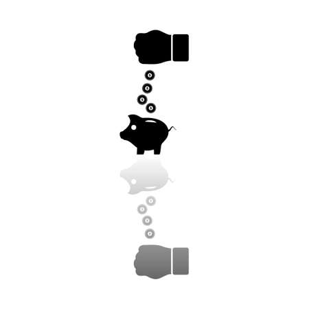 Piggy bank and hand with coin. Black symbol on white background. Simple illustration. Flat Vector Icon. Mirror Reflection Shadow. Can be used in logo, web, mobile and UI UX project Çizim
