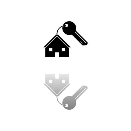 House key. Black symbol on white background. Simple illustration. Flat Vector Icon. Mirror Reflection Shadow. Can be used in logo, web, mobile and UI UX project