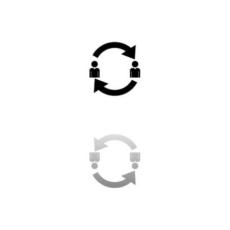 Exchange between two men. Black symbol on white background. Simple illustration. Flat Vector Icon. Mirror Reflection Shadow. Can be used in logo, web, mobile and UI UX project Çizim