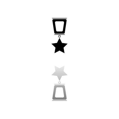 Award. Black symbol on white background. Simple illustration. Flat Vector Icon. Mirror Reflection Shadow. Can be used in logo, web, mobile and UI UX project Çizim