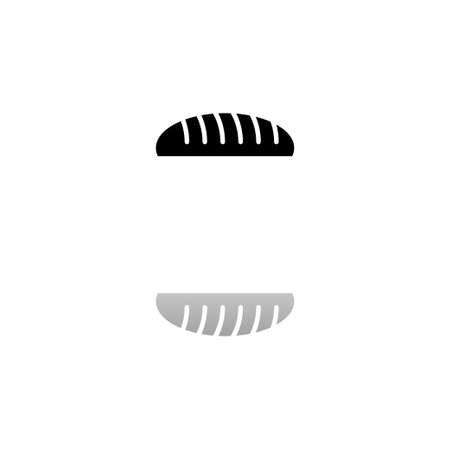 Bread. Black symbol on white background. Simple illustration. Flat Vector Icon. Mirror Reflection Shadow. Can be used in logo, web, mobile and UI UX project