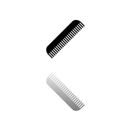 Comb. Black symbol on white background. Simple illustration. Flat Vector Icon. Mirror Reflection Shadow. Can be used in logo, web, mobile and UI UX project