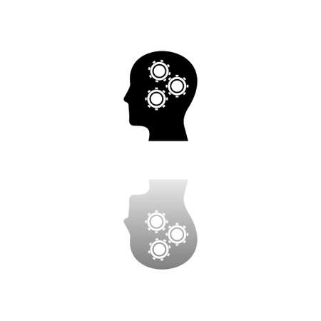 Gear head. Black symbol on white background. Simple illustration. Flat Vector Icon. Mirror Reflection Shadow. Can be used in logo, web, mobile and UI UX project