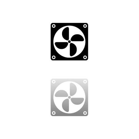 Computer cooling fan. Black symbol on white background. Simple illustration. Flat Vector Icon. Mirror Reflection Shadow. Can be used in logo, web, mobile and UI UX project