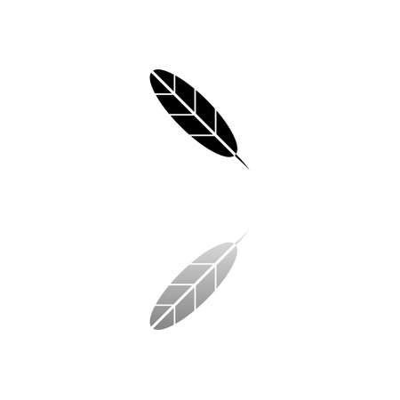 Feather. Black symbol on white background. Simple illustration. Flat Vector Icon. Mirror Reflection Shadow. Can be used in logo, web, mobile and UI UX project