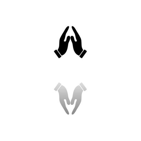 Supporting hands. Black symbol on white background. Simple illustration. Flat Vector Icon. Mirror Reflection Shadow. Can be used in logo, web, mobile and UI UX project