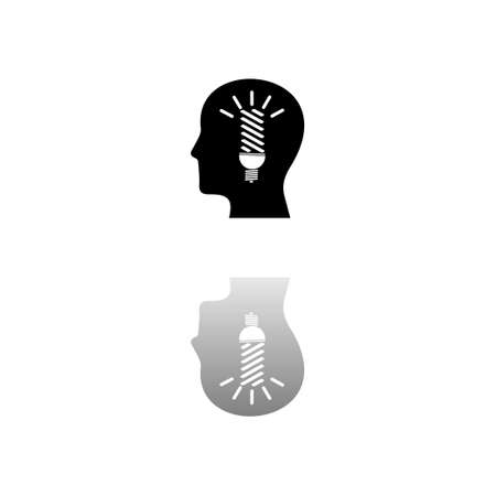 Head idea. Black symbol on white background. Simple illustration. Flat Vector Icon. Mirror Reflection Shadow. Can be used in logo, web, mobile and UI UX project