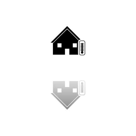 House temperature. Black symbol on white background. Simple illustration. Flat Vector Icon. Mirror Reflection Shadow. Can be used in logo, web, mobile and UI UX project