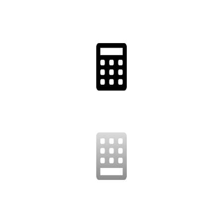 Calculator. Black symbol on white background. Simple illustration. Flat Vector Icon. Mirror Reflection Shadow. Can be used in logo, web, mobile and UI UX project