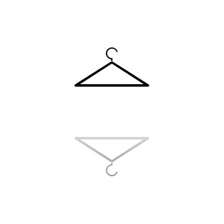 Hanger. Black symbol on white background. Simple illustration. Flat Vector Icon. Mirror Reflection Shadow. Can be used in logo, web, mobile and UI UX project
