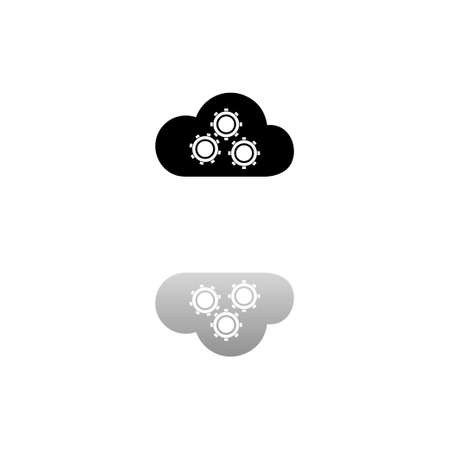 Cloud storage preferences. Black symbol on white background. Simple illustration. Flat Vector Icon. Mirror Reflection Shadow. Can be used in logo, web, mobile and UI UX project Çizim