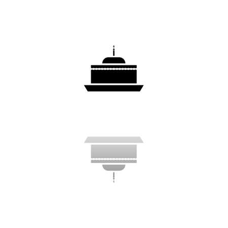 Birthday cake. Black symbol on white background. Simple illustration. Flat Vector Icon. Mirror Reflection Shadow. Can be used in logo, web, mobile and UI UX project