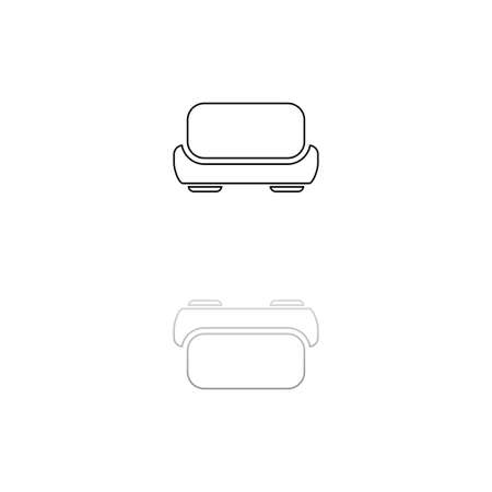 Sofa. Black symbol on white background. Simple illustration. Flat Vector Icon. Mirror Reflection Shadow. Can be used in logo, web, mobile and UI UX project