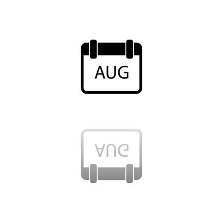 Calendar. Black symbol on white background. Simple illustration. Flat Vector Icon. Mirror Reflection Shadow. Can be used in logo, web, mobile and UI UX project Çizim