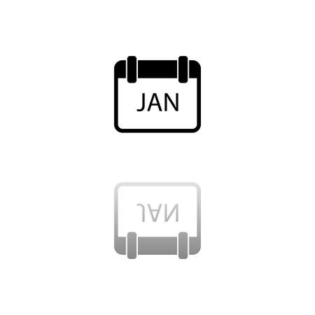 Calendar. Black symbol on white background. Simple illustration. Flat Vector Icon. Mirror Reflection Shadow.