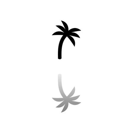 Palm. Black symbol on white background. Simple illustration. Flat Vector Icon. Mirror Reflection Shadow.