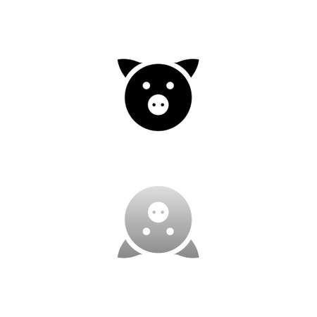Pig. Black symbol on white background. Simple illustration. Flat Vector Icon. Mirror Reflection Shadow. Can be used in logo, web, mobile and UI UX project