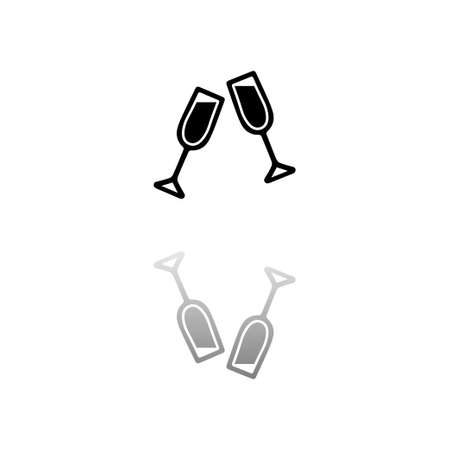 Champagne. Black symbol on white background. Simple illustration. Flat Vector Icon. Mirror Reflection Shadow.