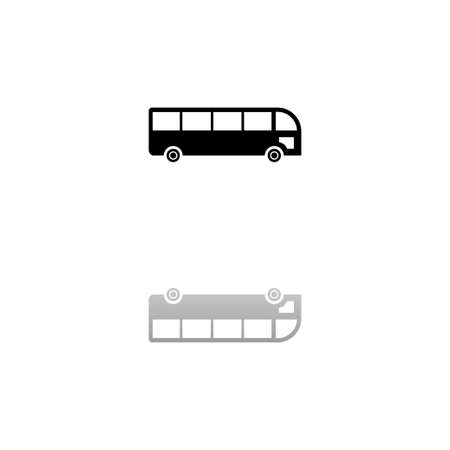 Bus. Black symbol on white background. Simple illustration. Flat Vector Icon. Mirror Reflection Shadow.